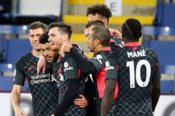 Liverpool's Alex Oxlade-Chamberlain celebrates scoring the third goal during the Premier League match at Turf Moor, Burnley. Picture date: Wednesday May 19, 2021.