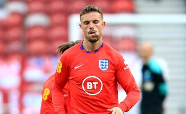 England's Jordan Henderson warms up on the pitch ahead of the International Friendly at The Riverside Stadium, Middlesbrough. Picture date: Wednesday June 2, 2021.