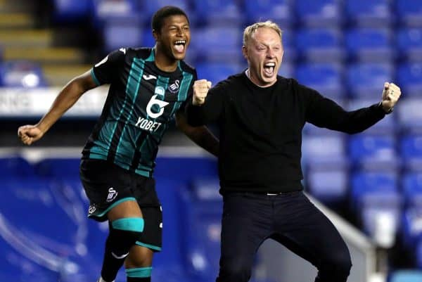 Manager Steve Cooper and striker Rhian Brewster led the celebrations as Swansea reached the play-offs (Andrew Matthews/PA)