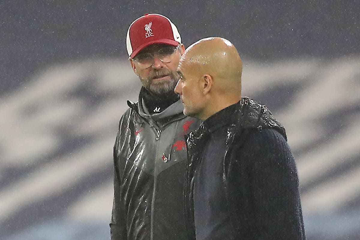 "Liverpool manager Jurgen Klopp (left) and Manchester City manager Pep Guardiola in discussion during the Premier League match at the Etihad Stadium, Manchester. PA Photo. Picture date: Sunday November 8, 2020. See PA story SOCCER Man City. Photo credit should read: Martin Rickett/PA Wire. RESTRICTIONS: EDITORIAL USE ONLY No use with unauthorised audio, video, data, fixture lists, club/league logos or ""live"" services. Online in-match use limited to 120 images, no video emulation. No use in betting, games or single club/league/player publications."