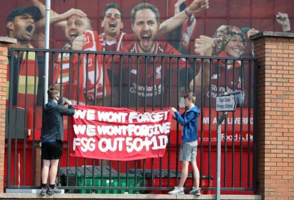 Liverpool fans protest against the clubs owners outside of Anfield (Martin Rickett/PA)