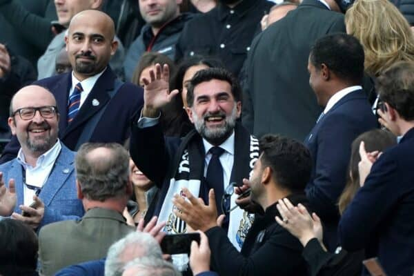 New Newcastle United chairman Yasir Al-Rumayyan waves the supports prior to kick-off in the Premier League match at St. James' Park, Newcastle. Picture date: Sunday October 17, 2021.