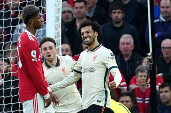 Liverpool's Mohamed Salah celebrates his team's fourth goal during the Premier League match at Old Trafford, Manchester.  Picture date: Sunday October 24, 2021.