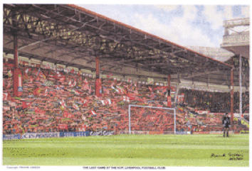 Original watercolour of 'The Last Game at the Kop' by Frank Green to be auctioned at Bonhams Chester on Wednesday, 6th November 2013.  Bidding starts at 11am. Contact  Chris Hayes at  Bonhams on +44 1244 353117 or email: christopher.hayes@bonhams.com