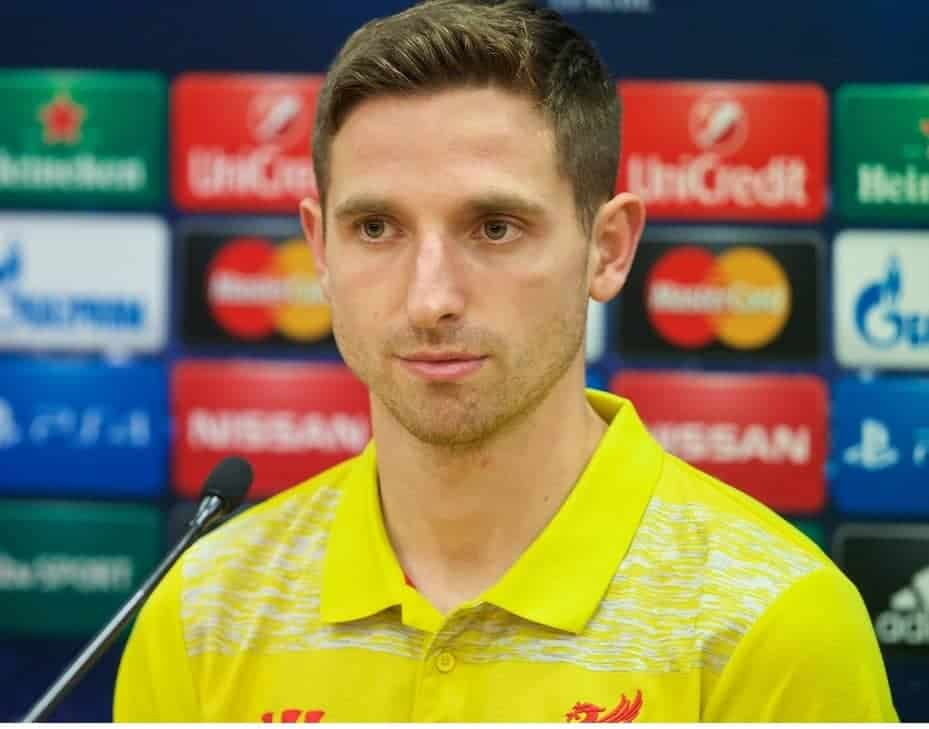 LIVERPOOL, ENGLAND - Monday, December 8, 2014: Liverpool's Joe Allen during a press conference at Anfield ahead of the final UEFA Champions League Group B match against FC Basel. (Pic by David Rawcliffe/Propaganda)