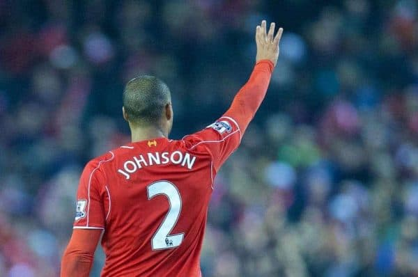 LIVERPOOL, ENGLAND - Saturday, November 29, 2014: Liverpool's match-winning goal scorer Glen Johnson celebrates after the 1-0 victory over Stoke City during the Premier League match at Anfield. (Pic by David Rawcliffe/Propaganda)