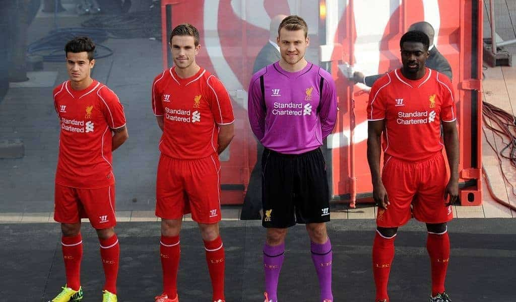 Liverpool present the new home kit for next season at Liverpool One on April 10, 2014 in Liverpool, England.
