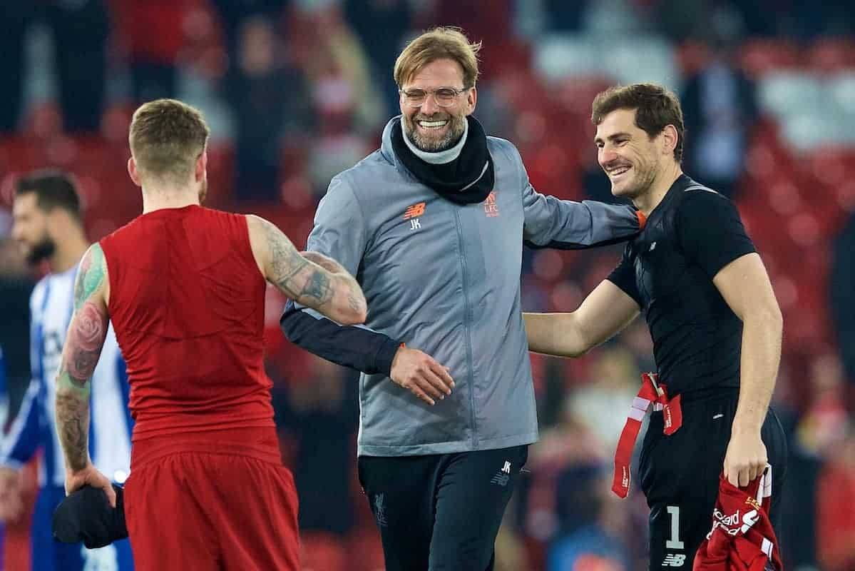 LIVERPOOL, ENGLAND - Monday, March 5, 2018: Liverpool's manager J¸rgen Klopp with Alberto Moreno FC Portoís goalkeeper Iker Casillas after the UEFA Champions League Round of 16 2nd leg match between Liverpool FC and FC Porto at Anfield. (Pic by Paul Greenwood/Propaganda)