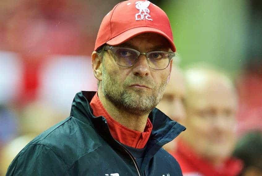 LIVERPOOL, ENGLAND - Sunday, November 8, 2015: Liverpool's manager Jürgen Klopp before the Premier League match against Crystal Palace at Anfield. (Pic by David Rawcliffe/Propaganda)