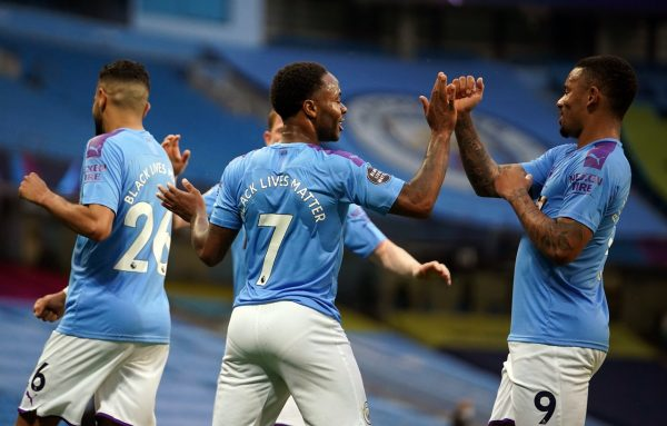 Manchester City forward Raheem Sterling scored the first goal of the Premier League's restart (Dave Thompson/NMC Pool/PA)