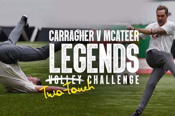 Watch Jamie Carragher show off a surprise finishing ability in Liverpool Legends challenge