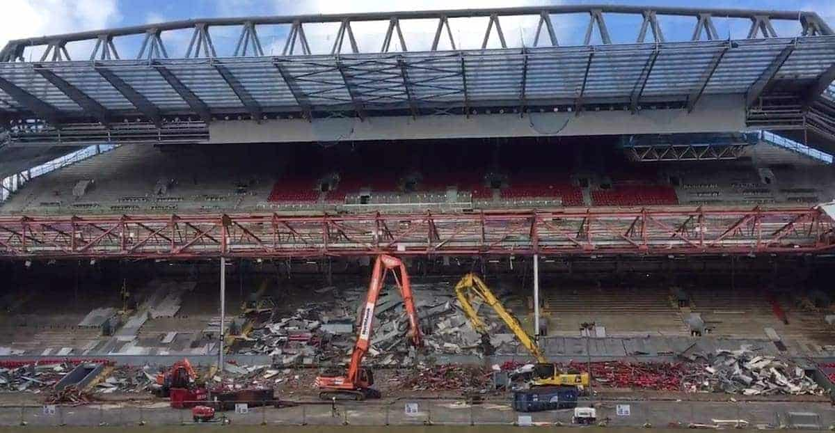 Anfields Old Main Stand Roof Demolished