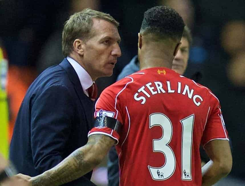 LIVERPOOL, ENGLAND - Monday, April 13, 2015: Liverpool's Raheem Sterling and manager Brendan Rodgers before the Premier League match against Newcastle United at Anfield. (Pic by David Rawcliffe/Propaganda)