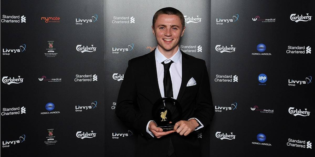 Jordan Rossiter of Liverpool poses with award during the Liverpool FC 2014 Players' Awards Dinner on May 6, 2014 in Liverpool, England.