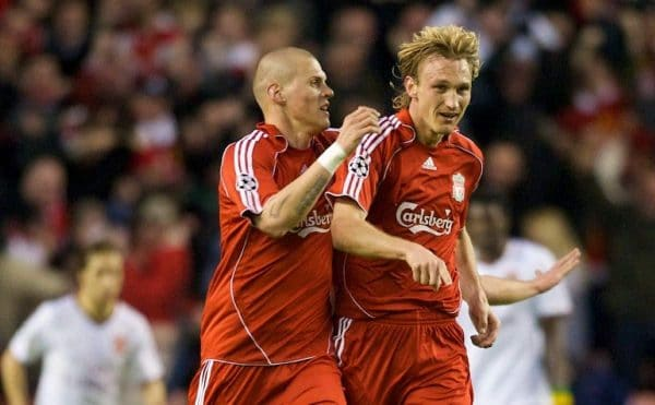 LIVERPOOL, ENGLAND - Tuesday, April 8, 2008: Liverpool's Sami Hyypia celebrates scoring the equaliser with team-mate Martin Skrtel against Arsenal during the UEFA Champions League Quarter-Final 2nd Leg match at Anfield. (Photo by David Rawcliffe/Propaganda)