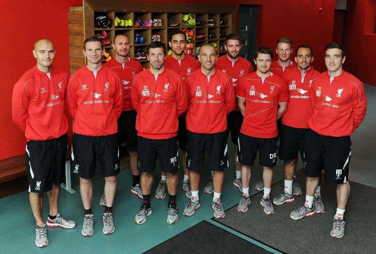 The LFC sports science team: From left James Morton, Barry Drust, Jordan Milsom, Ryland Morgans, Tom Brownlee, Andy O'Boyle, Patrick orme, Dave Rydings, Liam Anderson, Olly Morgan and Rob Naughton (Image courtesy of Liverpool FC)