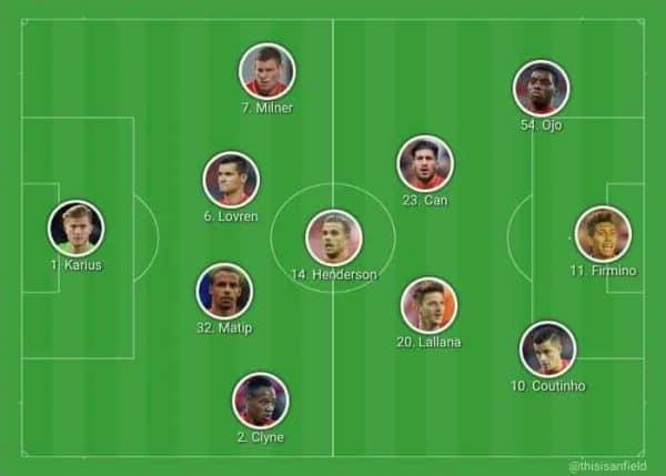 Front three, Ojo, Coutinho, Firmino