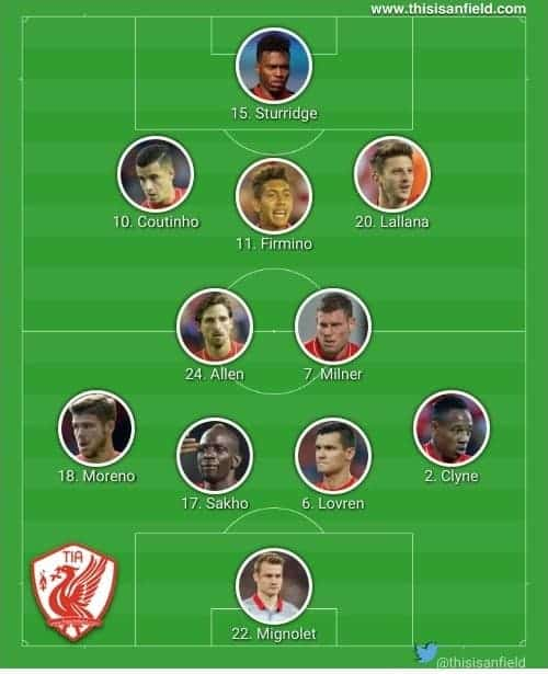 Stoke XI 4-2-3-1